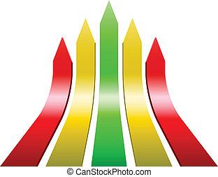 3D varicolored ascending arrows