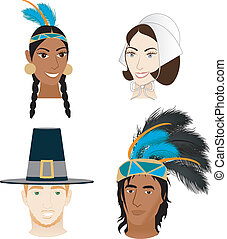 Vector Illustration of 4 faces for Thanksgiving. Indians and Pilgrims