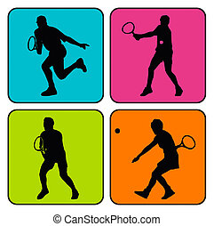 4 tennis silhouettes - Vector illustration of 4 tennis...
