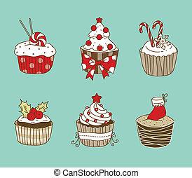 Christmas cupcakes - Vector illustration of 6 Christmas...