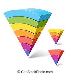 7, 5 and 3-layered pyramid shapes - Vector illustration of...