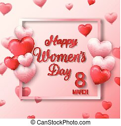 8 March. Red pink hearts greeting card. International happy women's day with square on pink background