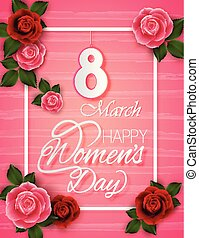 8 March Women's Day on pink background