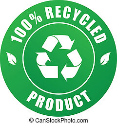 100% recycled product label - vector illustration of a 100% ...
