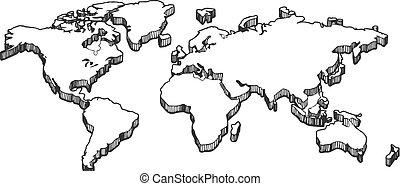 3d empty blank white map