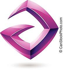 3d Sharp Glossy Magenta Logo Shape