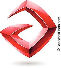 3d Sharp Glossy Red Logo Shape