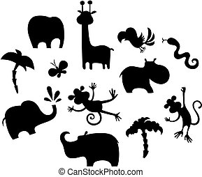 vector illustration of a african animal set