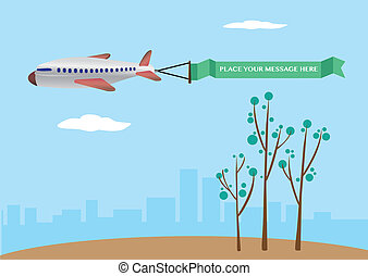 Vector illustration of a airplane with banner.