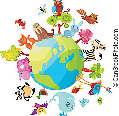 animals planet - vector illustration of a animals planet