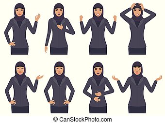 muslim businesswoman wit different emotion