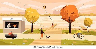 Vector illustration of a autumn city landscape