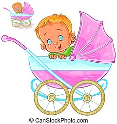 Vector illustration of a baby lies in a pram and smiling, side view.