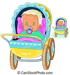 Vector illustration of a baby lies in a pram and sucks a pacifier.