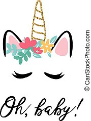 Vector illustration of a baby shower invitation with cute unicorn