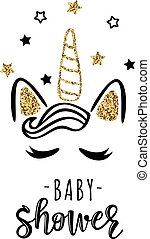 Vector illustration of a baby shower Invitation with magic cute unicorn