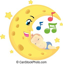 Vector Illustration of a Baby Sleeping on the moon with musical notes