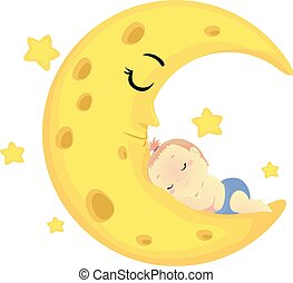 Vector Illustration of a Baby sleeping on the sleeping Moon