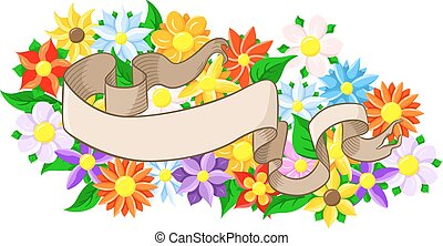 banner with floral background
