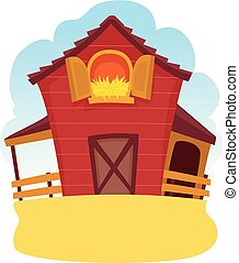 Illustration of a Barn Wood with Hay