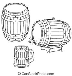 Vector illustration of a barrel, mug isolated on white