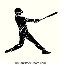 Vector illustration of a baseball player silhouette hitting the ball.