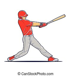 Vector illustration of a baseball player hitting the ball.