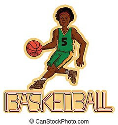 vector illustration of a basketball player with the writing basketball