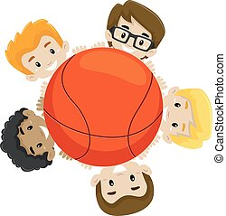 Basketball Team holding the Ball