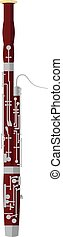 Vector illustration of a bassoon in cartoon style isolated on white background