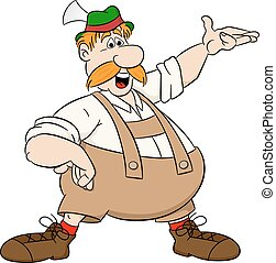 bavarian man pointing at something - vector illustration of...