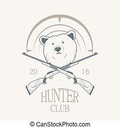 Vector illustration of a bear and a gun