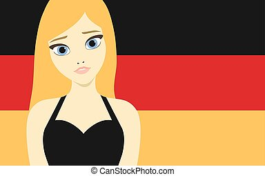 Vector illustration of a beautiful blonde german girl in front of the german flag