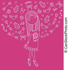 Vector illustration of a beautiful fashion girl in cute dress with bag. Glamorous lady on purpie background.