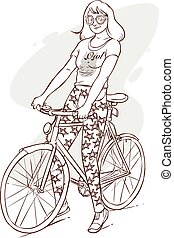 vector illustration of a beautiful girl riding bicycle
