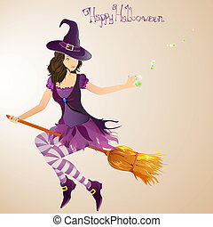 halloween witch - vector illustration of a beautiful...