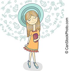 Vector illustration of a beautiful fashion girl in cute dress, striped hat with bag. Glamorous lady on white background.