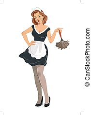 Vector illustration of a beautiful smiling young woman wearing french maid outfit with black dress and white apron, holding a feather duster, in vintage retro pinup girl style, isolated on white.