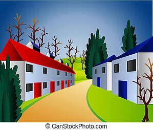 Vector illustration of a beautiful landscape with house Summer landscape with trees and town. illustration for the children
