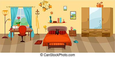 bedroom - vector illustration of a bedroom