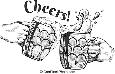 Vector illustration of a beer mugs cheers clinking in a hand drawn vintage engraving style.