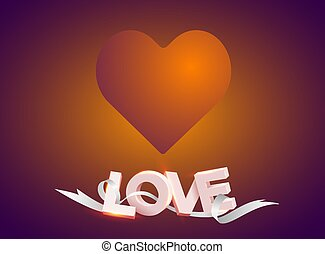 """Vector illustration of a big heart above the word """"love"""" with a ribbon on red background."""