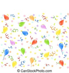 vector illustration of a birthday background with balloons, ribbons and confetti.
