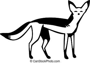 Jackal - Vector illustration of a black-backed or...