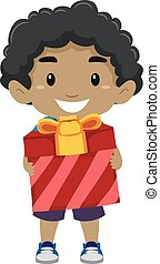 Black Boy Holding a Gift