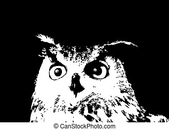 Vector illustration of a black cartoon owl silhouette.