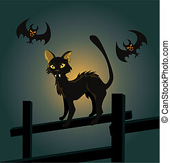 Vector illustration of a black cat on a fence and a vampire bat on Halloween night.