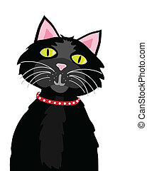 black cat - vector illustration of a black cat on white...