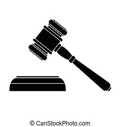 vector illustration of a black court hammer