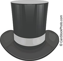 Vector illustration of a black cylinder hat on a white...